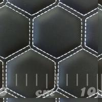 Stitch Quilted Vinyl - Big Hex Black/White