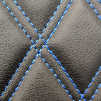 Stitch Quilted Vinyl - Diamond Black/Blue Double Stitch