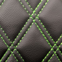 Stitch Quilted Vinyl - Diamond Black/Green Double Stitch