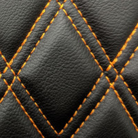 Stitch Quilted Vinyl - Diamond Black/Orange Double Stitch