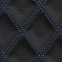 Stitch Quilted Vinyl - Double Diamond (Blue on Black)