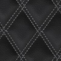 Stitch Quilted Vinyl - Double Diamond (Grey on Black)