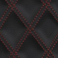 Stitch Quilted Vinyl - Double Diamond (Red on Black)