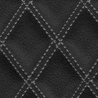Stitch Quilted Vinyl - Double Diamond (White on Black)