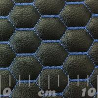 Stitch Quilted Vinyl - Hexabubble (Blue on Black)
