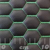Stitch Quilted Vinyl - Hexabubble (Green on Black)