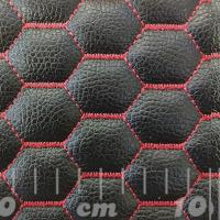 Stitch Quilted Vinyl - Hexabubble (Red on Black)