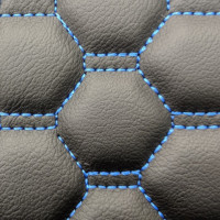Stitch Quilted Vinyl - Honeycomb Black/Blue Stitch