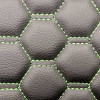 Stitch Quilted Vinyl - Honeycomb Black/Green Stitch