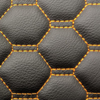 Stitch Quilted Vinyl - Honeycomb Black/Orange Stitch