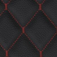 Stitch Quilted Vinyl - Single Diamond (Red on Black)